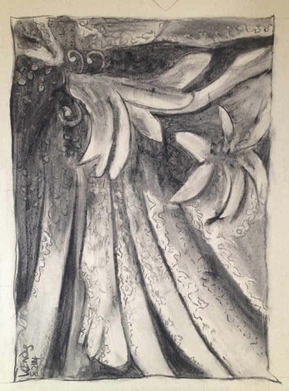 Charcoal on brown paper: 32 x 43 cms or12.5 x 17 inches. Wendy @ Late Start Studio
