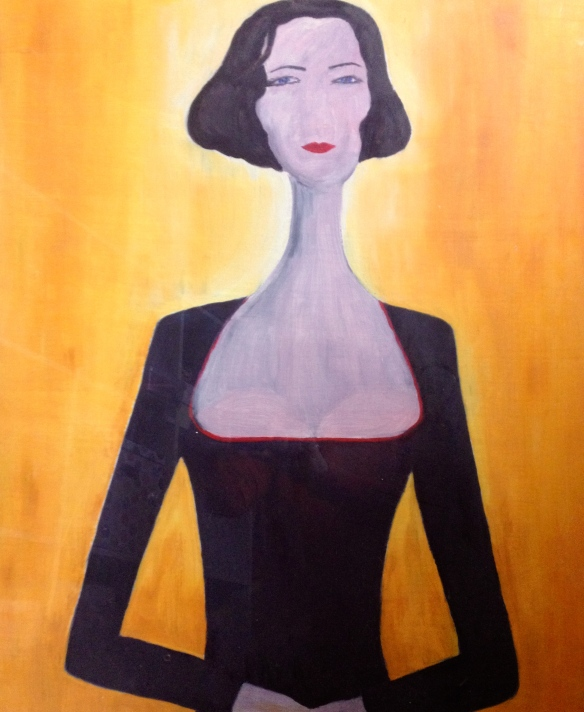 Inspired by a photograph and with more than a nod to Modigliani. 640 x 500 mm, oil on cardboard.