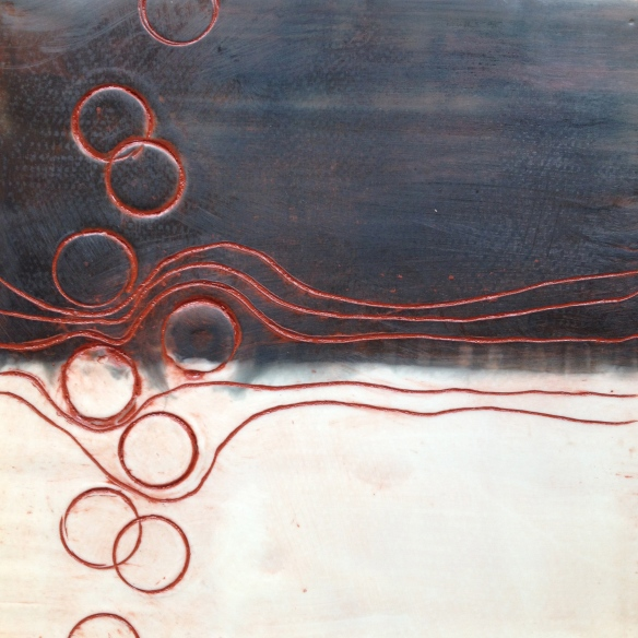 Encaustic on customwood substrate. Wendy @ Late Start Studio