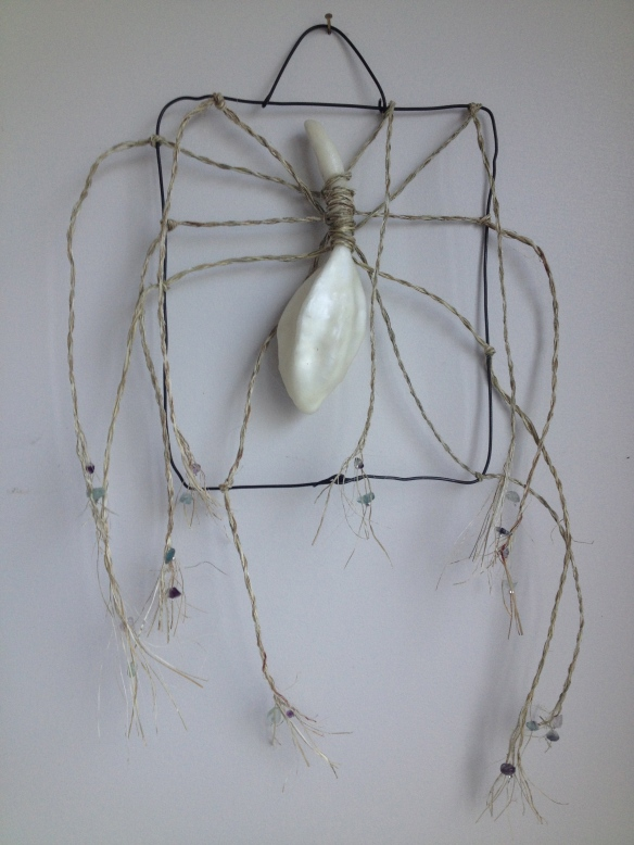 A Promise: Strings Attached Encaustic seed-pod, rebar wire, harakeke/flax, amethyst chips, silver crimps. 40 x 25 cm Wendy @ Late Start Studio